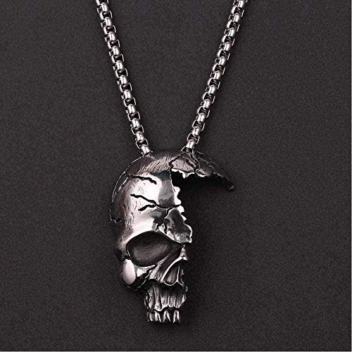 AOAOTOTQ Co.,ltd Necklace Half Broken Damaged Face Skull Pendant Punk Style Biker Rock Jewelry Antique Silver Color Pendant Necklace for Women Men