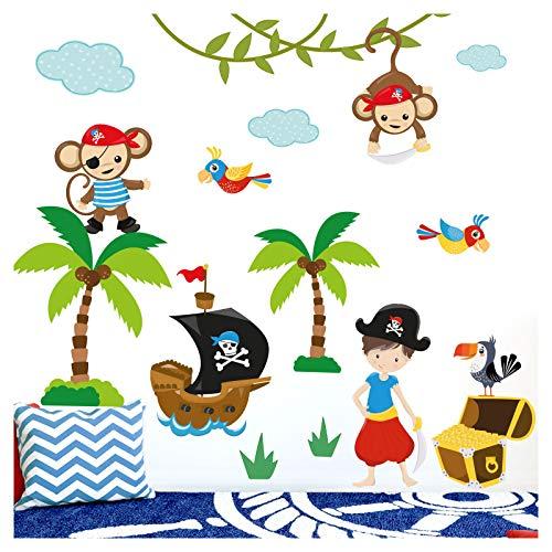 Little Deco Aufkleber Affen Piraten Schiff I Wandbild S - 57 x 41 cm (BxH) I Wandtattoo Babyzimmer Junge Kinderzimmer Tiere Deko Baby Wandsticker DL205