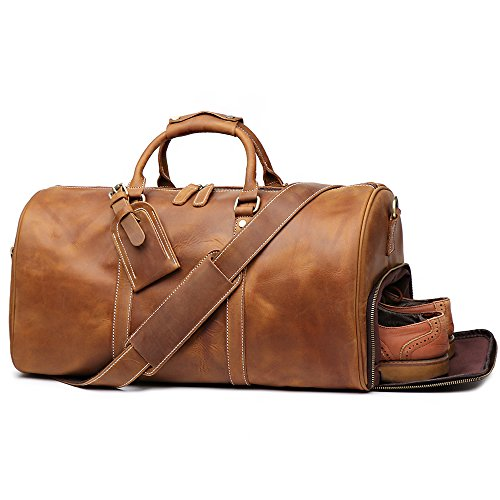 Leathfocus Leather Travel Luggage Bag, Mens Duffle Retro Carry on Handbag (Brown)