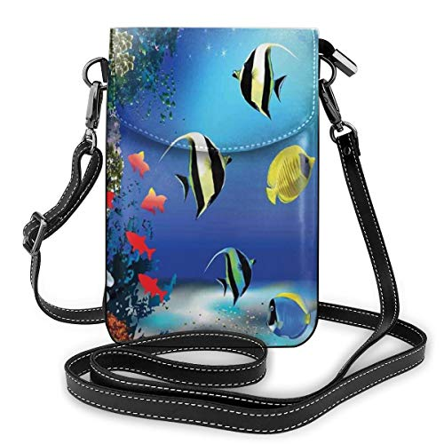 Women Mini Purse Crossbody of Cell Phone,Tropical Undersea with Colorful Fishes Swimming In The Ocean Coral Reefs Artsy Image
