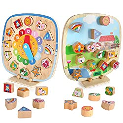 BeebeeRun Shape Sorting Clock for Kids, 5 IN 1 DOUBLE-SIDED Telling Time Teaching Clock,Montessori Toys for 3 4 5 6 Year Old Toddler Baby, Wooden Magnetic Animal Puzzle, Early Learning Educational Toy