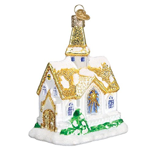 Old World Christmas Church Collection Glass Blown Ornaments for Christmas Tree Golden Cathedral