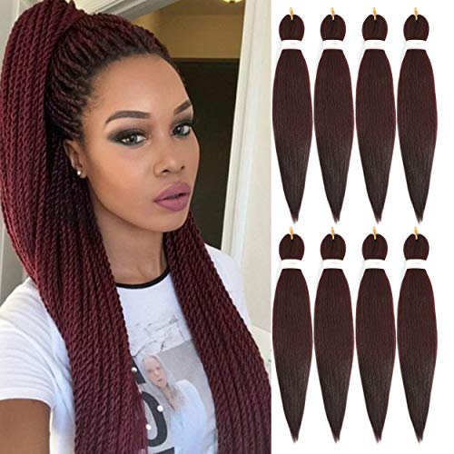 BeautyGrace 8 Packs 22 inch Pre-stretched Braiding Hair Professional Perm Yaki Synthetic Hair Braids(8 Pack, 99j).
