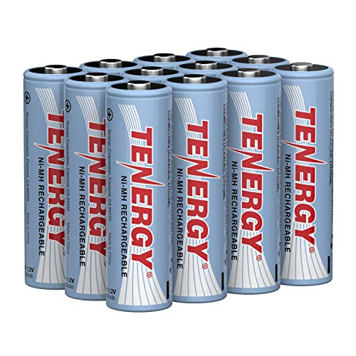 Tenergy AA Rechargeable Battery High Capacity 2500mAh NiMH AA Battery 12V Double A Batteries 12Pack