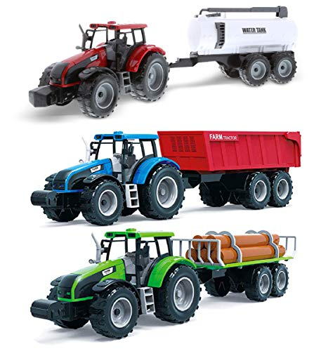 Mozlly Friction Powered Farm Tractor Vehicles, 16.5' Includes Farmer Tractor Water Tank and Log Trailer, Push & Go No Batteries Needed Farming Toys Playset for Boys Kids Toddlers (3pc Set)