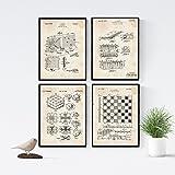 Nacnic Vintage - Pack de 4 Láminas con Patentes de Juegos de Mesa. Set de Posters con inventos y Patentes Antiguas. Elije el Color Que Más te guste. Impreso en Papel de 250 Gramos