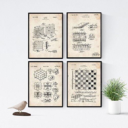 Nacnic Vintage Brettspiele Patent Poster 4-er Set. Vintage Stil Wanddekoration Abbildung von Familie Spielen und Freizeit. Verschiedene geometrische Alte Erfindungen Bilder ohne Rahmen. Größe A4.