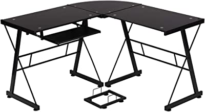 OffiClever L sharped Corner Glass Keyboard Cool Desk for Adults Modern Execute for Small Space, Black
