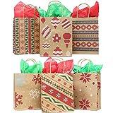 JOYIN Joiedomi 24 Stück Weihnachten Geschenktüten mit verschiedenen Weihnachtsmotiven, Kraftpapiertüten Geschenktasche für Weihnachten, Geschenkverpackung, Christmas