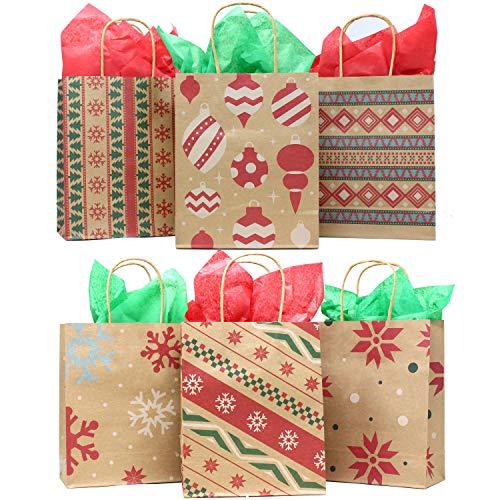 24pcs Bolsas de Regalo Kraft para Navidad Personalizar y Envolver Regalos (18.5x23x9 cm)