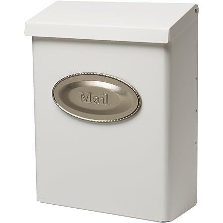 Gibraltar Mailboxes Designer Locking Medium Capacity Galvanized Steel White, Wall-Mount Mailbox, DVKW0000, 9.7 x 4.4 x 12.6 inches