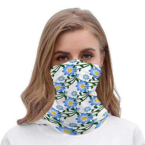 Pretty Blue Floral Reusable Unisex Multifunctional Bandana Neck Gaiter Tube Headwear headkerchief, Motorcycle Face Mask Bandana Headband for Women Men Face Scarf