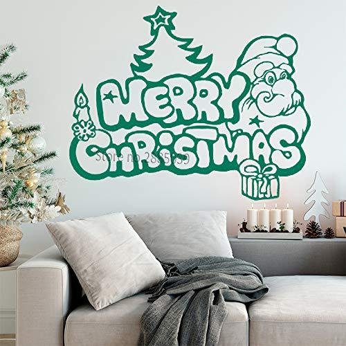 Geiqianjiumai Frohe Weihnachten Applique Funny Santa Weihnachtsbaum Wand Fensterglas Art Deco Grün M70cmx56cm