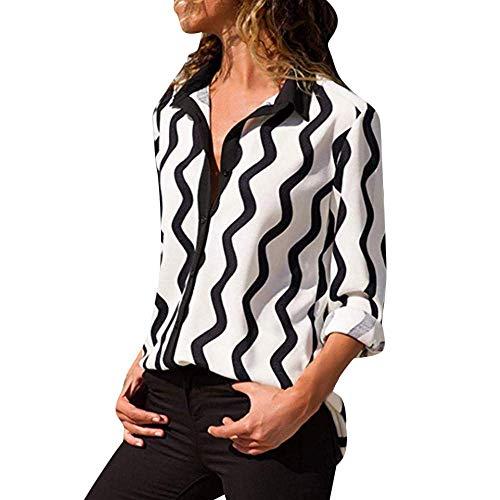 Adelina mantel vrouwen casual gestreepte lange mouw draaien onder kraag knop voorhemd modieus complex overstijgt blouse overgangsjas