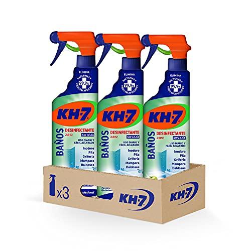 KH-7 Baños Desinfectante - Máxima Eficacia Sin Esfuerzo, Fórmula sin Lejía, Elimina el 99,9% de Bacterias y Virus Encapsulados - Pack de 3 Unidades x 750 ml
