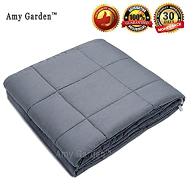 Amy Garden Weighted Blanket for Anxiety, ADHD, Autism, Insomnia or Stress - Premium Various Weighted Blankets for Great Sleep (48 x72 ,15 lbs for 140-150 lbs individual, Grey)