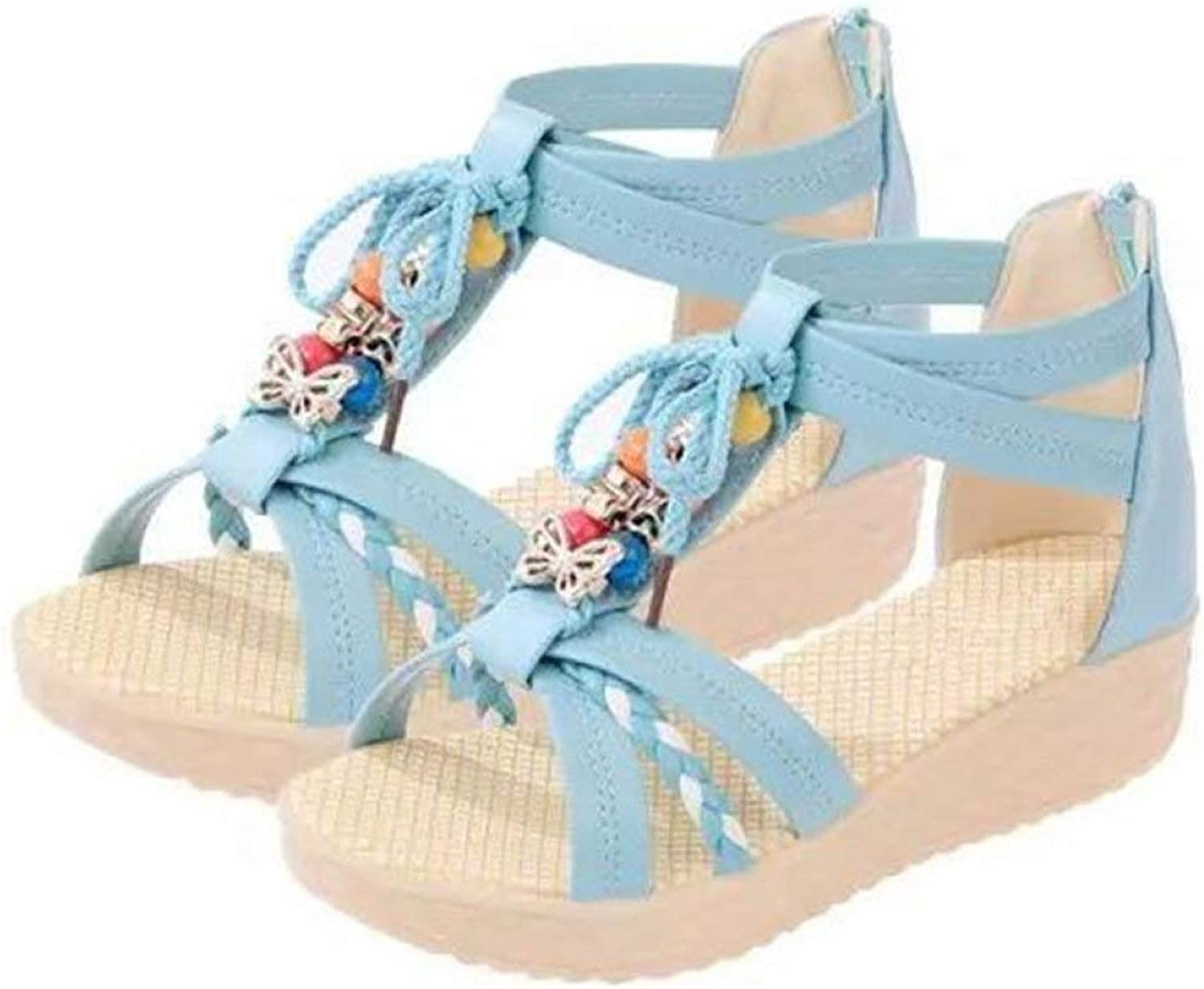 Women's Wedges Platform String Bead Back Zipper Sandals Fashion Lady Casual Summer No-Slip shoes