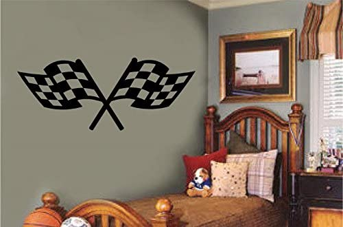 Crossed Checkered Flag Wall Decal Personalized Racing Flags Wall Sticker Nursery Man Cave Decoration Boys Bedroom  Race Theme Decor Bed Room