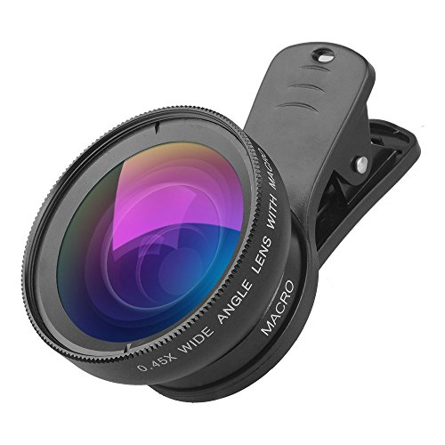 iPhone Camera Lens 0.45X Super Wide Angle Lens & 12.5X Macro Lens 2 in 1 Professional HD Cell Phone Camera Lens Kit for iPhone X 8 7 6S 6S Plus 6 5S Samsung Android Smartphones