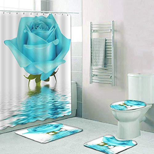 Wanyudz Valentinstag Duschvorhang-Sets, 4-teiliges wasserdichtes Badematten-Set Badteppiche Toilettendeckelabdeckung Kontur Teppich Duschvorhang mit 12 Haken