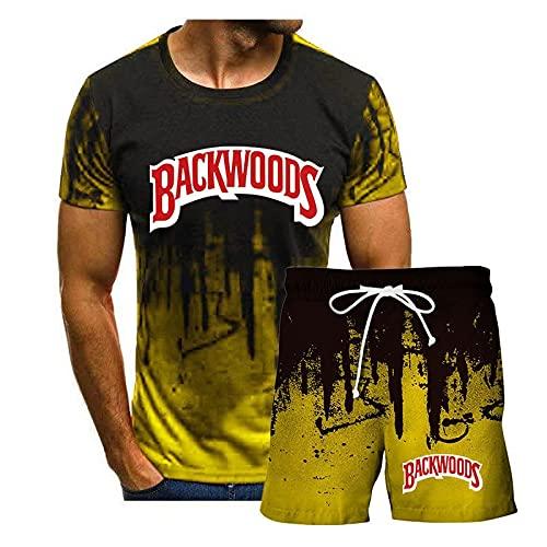 Camiseta y Pantalones Cortos Casuales de Manga Corta para Hombre Trajes de chándal Conjuntos de Camiseta y Pantalones Cortos de Manga Corta de Verano para Hombre, con cordón y Bolsillos Amarillo L