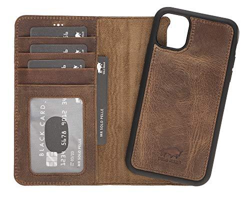 Solo Pelle Lederhülle kompatibel für iPhone 11 in 6.1 Zoll abnehmbare Hülle (2in1) inkl. Kartenfächer für das original Apple iPhone 11 (Vintage Braun)