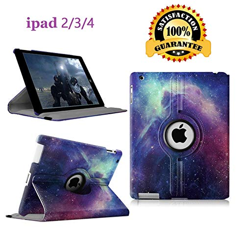 Newraturner iPad 2/3/4 Case - 360 Degree Rotating Stand Smart Case Protective Cover with Auto Wake Up/Sleep Feature for Apple iPad 4, iPad 3 & iPad 2 (Galaxy)