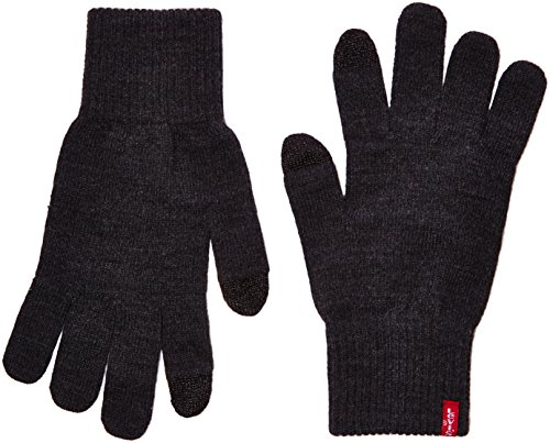 Levi's Ben Touch Screen Gloves, Guantes Hombre, Gris (Dark Grey), Large