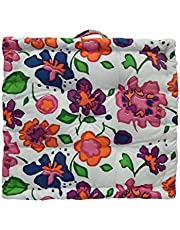 HOME COLORS.IN Floral Printed - Square Floor Cushions with Thick Cotton Filler and Handle, Large Size for Sitting, Sofa, Reading Book, Watching TV and Kids Cushion   60x60x10 cm