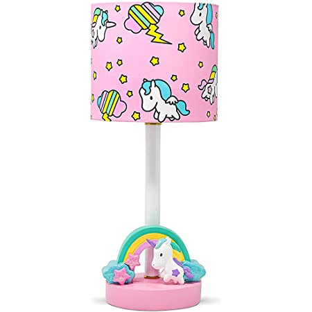 DAUGHTERS LIST Gorgeous Unicorn Lamp for Girls Bedroom, Handcrafted Design, Glitter Paint, Beautiful Cotton Lampshade, Durable Unicorn Bedroom Decor for Girls; Rainbow Unicorn, Kids Lamp