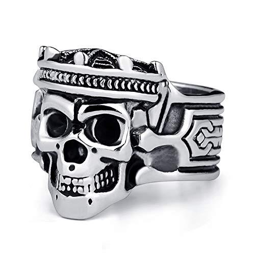 EzzySo Anillo de cráneo de Corona, Estadounidense geométrico Retro de Acero de tungsteno Punk Punk Anillo de Anillo de aleación (2 Piezas),9
