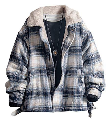 LifeHe Men's Winter Plaid Sherpa Fleece Lined Jacket Fur Lining Windbreaker Trucker Jackets Blue