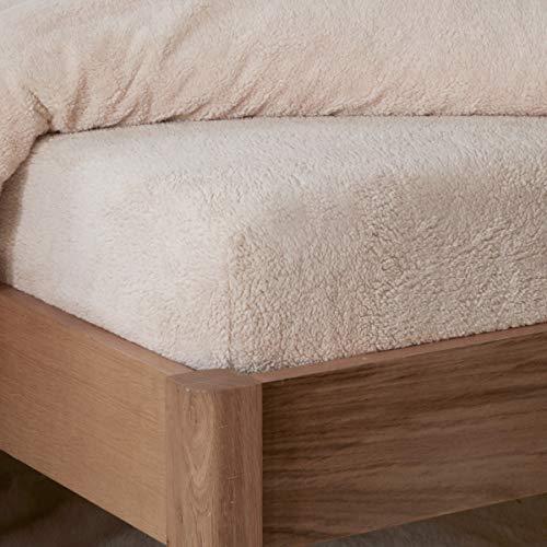 Sleepdown Spannbettlaken aus Teddy-Fleece, einfarbig, warm, gemütlich, superweich, 90 x 200 cm, Natur