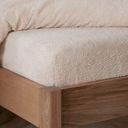 Sleepdown Teddy - Sábana Bajera para Cama (90 x 200 cm, Forro Polar, Natural, 90 x 200 cm, 90 x 200 x 32 cm)