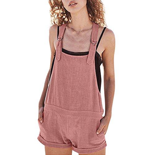 Petos de Pantalones Cortos Casual Playa Fiesta Noche Cóctel para Mujer Mono STRIR Pijamas elásticos de la Cintura de Las Mujeres Pantalones de algodón de Lino Mamelucos Mono Corto (XL, Rosa#0128)