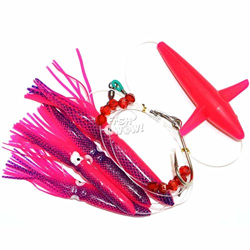Fish WOW! Fishing Daisy Bird Chain Squid Lure Rig Teaser Trolling - Pink