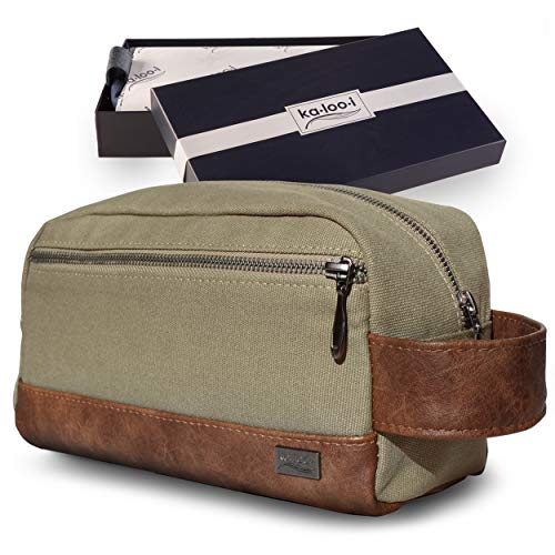 Toiletry Bag for Men - Canvas Dopp Kit for Travel, Gym, Grooming & Shaving,...
