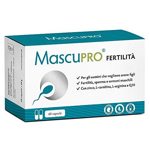 MascuPRO® Fertilità Uomo - Produzione di spermatozoi - vegano - 60 capsule per la fertilità maschile - L-carnitina, Zinco - Prodotto in Germania