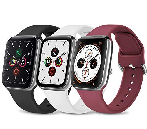 3 Pack Silicone Cinturino Compatibile per Apple Watch Cinturino 38mm 40mm 42mm 44mm, Morbido Cinturini Edizione Sportivo per iWatch Series 6 5 4 3 2 1 SE , Uomo e Donna Cinturini