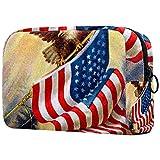 Estuche cosméticos Viaje portátil Organizador Bolsas Maquillaje Gloria Vieja 1912 ilustración Vintage de águila y Bandera Americana Cremallera Bolsillo Grande Almacenamiento