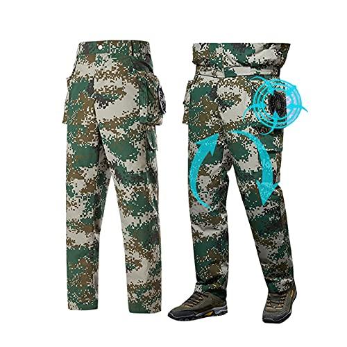 Pantalones De Trabajo Con Pantalones De Abanico Pantalón Con Ventilador De Refrigeración Al Aire Libre Ajuste USB De Tres Velocidades, Tejido Cómodo Y Transpirable. ( Color : Gray , Tamaño : 4XL )