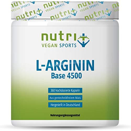 L-ARGININ BASE Kapseln vegan hochdosiert - fermentiert laborgeprüft - 4500mg 100% reines pflanzliches L-Arginine für Männer & Frauen - 360 Caps ohne Magnesiumstearat und Gelatine
