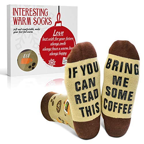 EYNOCA Regalos divertidos de calcetines para hombres y mujeres - Regalos de cumpleaños novedosos, si puedes leer esto, tráeme unos calcetines de café
