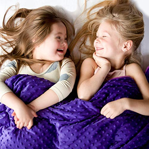 Harkla Kids Weighted Blanket (7lbs) | Cooling Bamboo Childrens Weighted Blanket with Plush Minky...