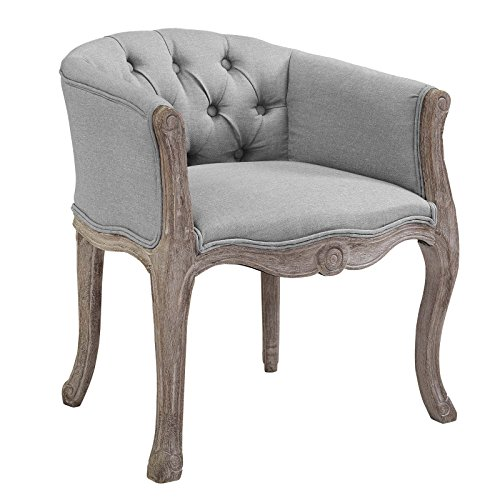 Modway Crown French Vintage Barrel Back Tufted Upholstered Fabric Dining Armchair in Light Gray