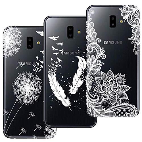 HopMore 3X Compatibile con Cover Samsung Galaxy J6 Plus (J6+) 2018 Silicone Morbide Trasparente con Disegni Belle Custodia Trasparenti Antiurto Gomma TPU Morbido Case Ultra Slim Caso Protettiva - B