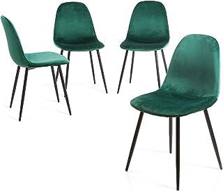Home Heavenly® Pack 4 sillas Comedor, Salon Sweden, sillas nórdicas, Modelo Vintage tapizadas en Tela Velvet Terciopelo con Patas Negras - Sweder - Velvet Verde