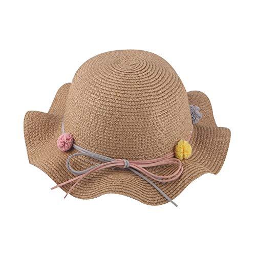 WFZ17 Chapeau de Soleil pour Enfants et Filles avec Chapeau de Paille Anti-UV pour Enfants d'été de Plage ondulés Bag* Kaki
