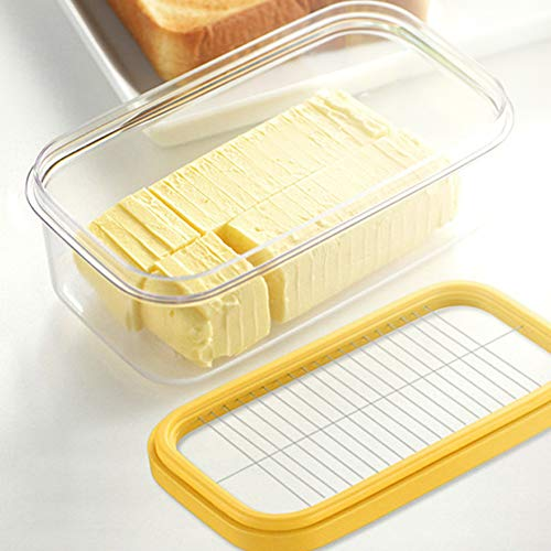 Caja de mantequilla, contenedor de mantequilla de red de corte transparente multifunción rectangular 6.7 × 3.9 × 2.8 in con tapa para almacenamiento de mantequilla