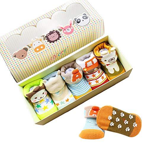Dicry 5 Pairs Newborn Baby Boy Socks 3d Ears Cartoon Animal Anti Slip Socks for 6-18 Months Infant